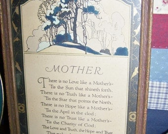 price reduced  Vintage 1920's PICTURE, Wall Hanging with MOTHER POEM by John Jarvis Holden, Gilded Trim