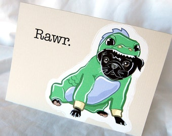 Lil Dragon Pug Greeting Card - Black Pug