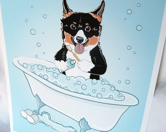 Bathtime Tri-color Corgi - Eco-Friendly 8x10 Print