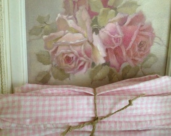 Pale Pink Gingham Chandelier or Cord Cover - Chandelier Cover- Nursery - Girls Room - Paris Apt