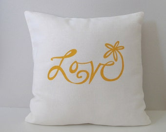 Pillow Cover - Cushion Cover - Love Flower - 16 x 16 inches - Choose your fabric and ink color