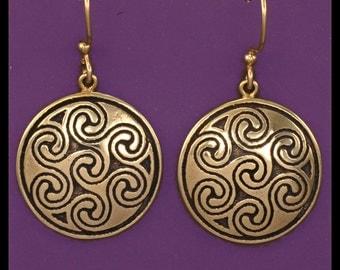 Celtic OBAR LEAMHNACH SPIRALS- Earrings- Bronze