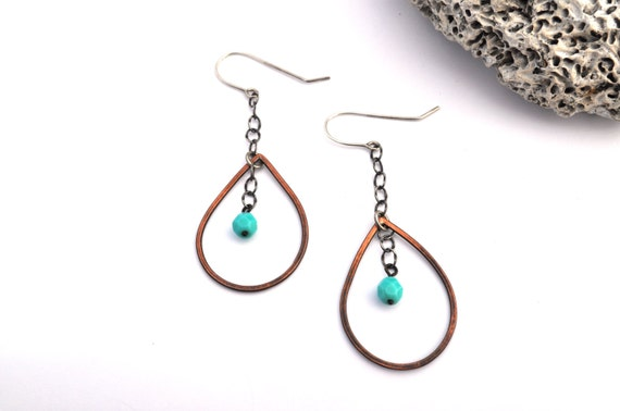 Long Teardrop Dangles with Pastel Blue Bead, Copper and Silver Earrings