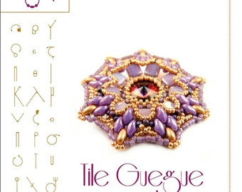 Pendant tutorial / pattern Tile Guegue with superduo beads..PDF instruction for personal use only