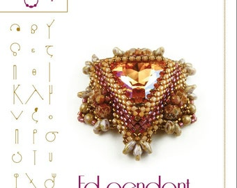 beading pattern Pendant tutorial / pattern Ed with swarovski triangle PDF instruction for personal use only