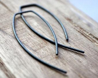Black Oxidised Embrace Earrings.Sterling Silver. Modern. Minimalist. Eco. Oxidized. Black. Jewellery. Jewelry. Handmade.