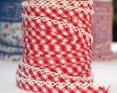 5 METERS Double fold picot crochet edge bias tape, crochet bias tape, picot bias tape, lace bias tape, red bias tape, gingham bias tape