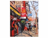 "New York Art NYC Art Wall Decor NYC Fine Art Print  8x10, ""Village Sushi"" red yellow Painting by Gwen Meyerson"