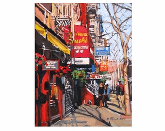 Greenwich Village Street Scene New York Art NYC Art Wall Decor lower manhattan Fine Art Print Sushi red Painting by Gwen Meyerson