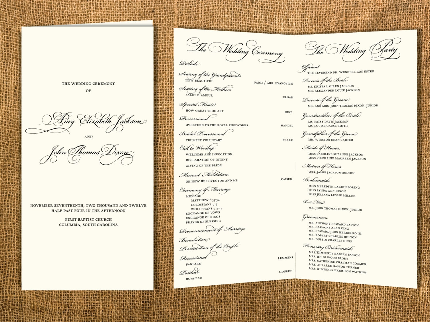 traditional wedding program by janinemikell on etsy
