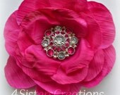 Azalea Artificial Flower with Custom Designed Hot Pink and Clear Acrylic Rhinestone Button