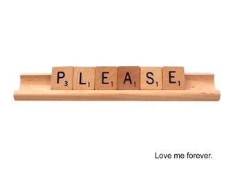 Please Love Me Forever Scrabble Card, Valentine, Elvis Presley lyrics, Sweetheart Card