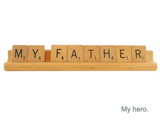 My Father - My Hero, Scrabble Greeting Card, Father's Day, Dad's Birthday