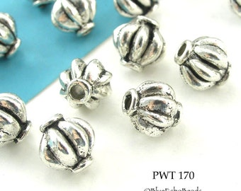 8mm Pewter Beads Antique Silver Melon (PWT 170)  14 pcs BlueEchoBeads