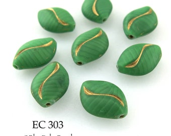 15mm Czech Glass Beads Green Oval with Gold Stripe 15mm x 11mm (EC 303) 6 pcs BlueEchoBeads