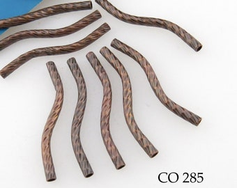 28mm Wavy Noodle Copper Bead, Antiqued Copper, Tube Bead, Textured (CO 279) 10 pcs BlueEchoBeads
