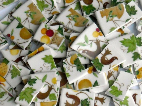 Vintage handcut Tiles from plates for mosaics J3