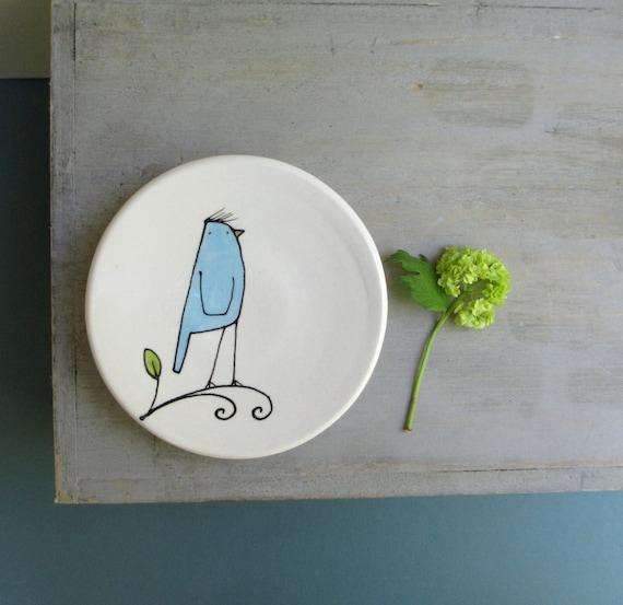 Ceramic bird dish, blue bird bowl