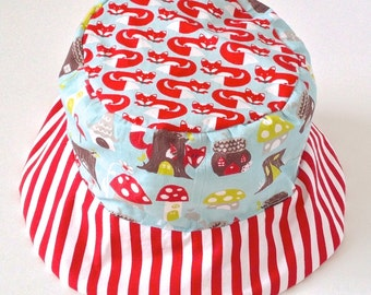 Bucket sun hat for girls, with birds and flowers, red and white stripes, reversible, organic