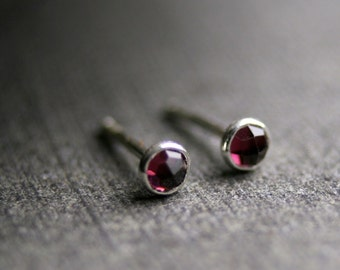 3mm Teeny tiny rose cut garnet and sterling silver stud earrings