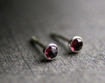 3mm Teeny tiny rose cut garnet and sterling silver stud earrings