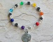 Chakra Hematite Gemstone Bead Bracelet w/ Labyrinth Charm