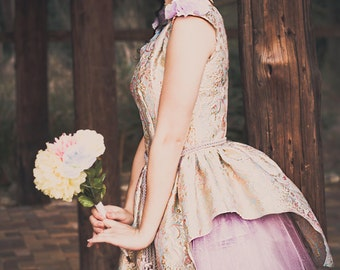 Marie, Marie Antoinette Inspired Brides Maid Dress-Lavender and Brocade Floral Print