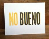 NO BUENO letterpress card