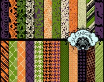 Halloween Paper Set of 30   Digital  8.5 x 11 or12x12  Set 02 Black, Green, Orange and Cream