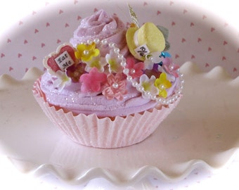 """Alice In Wonderland Inspired """"Mad Hatter's Tea Party Collection"""" (1) Jumbo Lilac Fake Cupcake Handmade Hat Fab Birthday/Shower/Wedding Decor"""