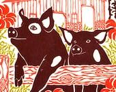 Two Pigs - Letterpress Block Print