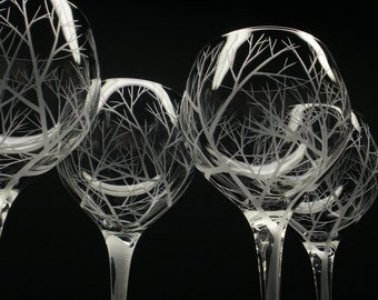 4 Red Wine Glasses 17 oz. Hand Engraved 'Reaching Branches' Holiday Table Decor