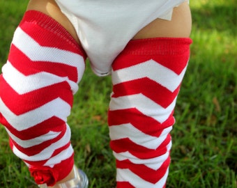 RED and White CHEVRON Embellished Baby Girl Leg Warmers Newborn to Toddler