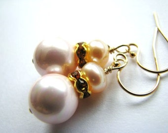 Delicate Blush Pink Pearl Earrings, Handcrafted Bridal Earrings, Topaz Crystals, 14k Gold Filled Earrings, Ready To Ship Gift