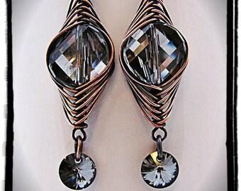 Herringbone Wrapped Silver Night Swarovski Coins with Crystal Rivoli Drops