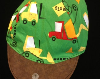 Reversible construction trucks baseball hat sizes newborn to adult