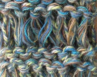 Wide headband dread head wrap, adult men women, stretch knit crochet wool blend, skiing blue green Life's an Expedition bohemian i316