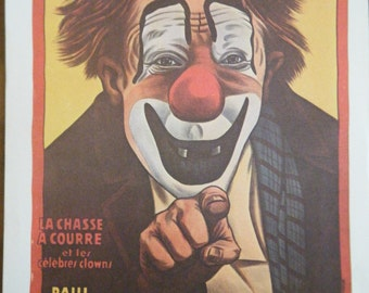 Cirque d Hiver CLOWN Vintage Circus Poster -  Poster Size Vintage Book Plate