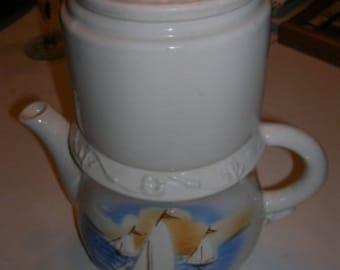 Vintage Porceliere China Drip Sailboat Teapot