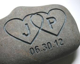 Interlocking Hearts Engraved Oath Stone Initials Date Custom Oathing