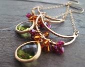 GINGER-Golden Crescent Hoop Chandelier Earrings with Swarovski Crystals & Green Glass Stone