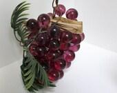 Vintage Lucite Grape Swag Lamp Hanging Light Purple Burgundy