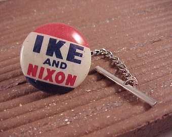 Tie Tack Vintage Ike Nixon Political Campaign Pin - Free Shipping to USA