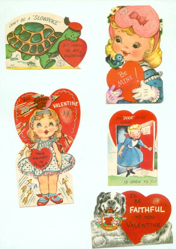 5 Vintage Kids Childrens School Die-Cut Valentines