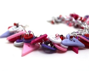 Button Charm Bracelet - Hearts Girly Pink Purple Red White Valentine's Day by randomcreative on Etsy