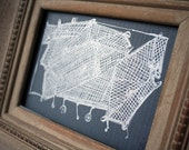 Gocco screenprinted shopping cart creature in silver and grey with mat: RATTLE & BUMP