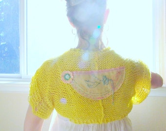one day i'll fly toward the sun. yellow cotton handknit shrug . eco friendly womens clothing . hand embroidered  vintage embellishments