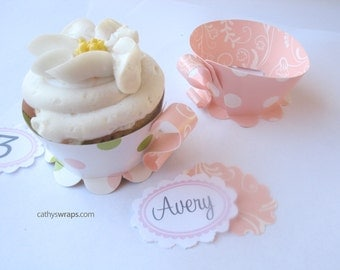 24 Tea Cup Cupcake Wraps & Tea Party Decoration. Baby, Bridal Shower and Birthdays. Polka Dot / Damask