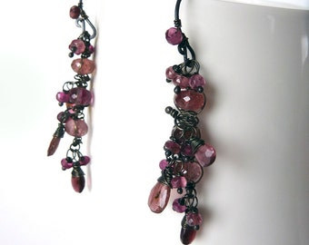 Pink Tourmaline Earrings -  Oxidized Sterling Silver - One of a Kind - Tagt - Free Shipping