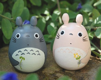 2 Totoro Dolls pink and gray Studio Ghibli toy  Figurine  (Size L 4 6)